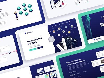 Bancium - landing page contract platform landing ico crypto coins card blockchain bank