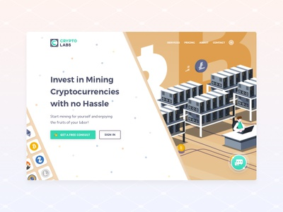 Cryptolabs - cloud mining service contract coin landing hero litecoin bitcoin blockchain crypto mining