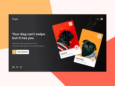 Doglex - Tinder for dogs 🐕 ui clean swipe app landing header dating pet dog