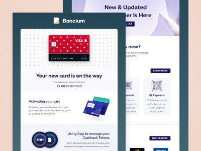 Bancium - new card email payment ui campaign banking card crypto fintech template email