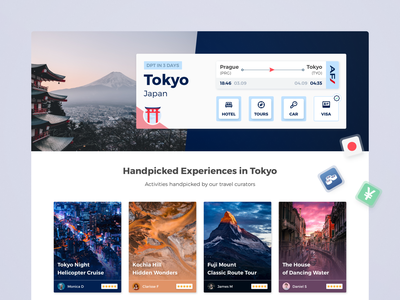 Cross-sell Offer Page landing page landing crosssale upsell tours guide tokyo flight booking ticket flight travel