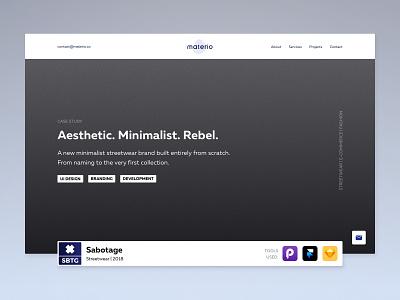 Materio - Project page sbtg minimalist streetwear portfolio studio materio landing header case agency