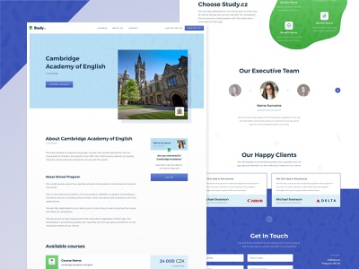 Study | New website footer header redesign website travel school study learning course