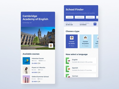 Study | Mobile UI app website travel redesign language school course teach learning study