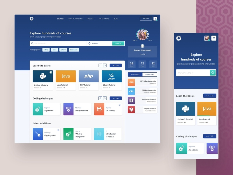 SoloLearn | Website Redesign concept profile dashboard online-courses student course e-learning learn study sololearn redesign