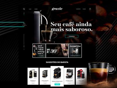 Grazie - E-commerce UI Concept art direction landing page cta dark coffee cafe e-commerce