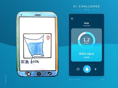#01 UI Challenge - Water Drink Reminder drink children tracker water @adobexd @daily-ui uichallenge mobile app ui design