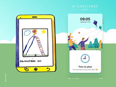 #03 UI Challenge - Play time! 😄 clock calendar hour kids track reminder time kite playful play ui mobile illustration children app adobexd