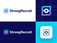 StrongRecruit - Logo Design Concept platform rectruiter position job lettermark wordmark media tech digital s letter logo human resources hr recruit corporate symbol icon logotype identity logo design logo designer branding logo
