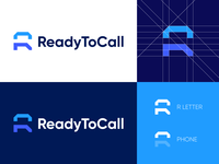 ReadyToCall - Logo Design Concept identity design brand identity text message email voice call phone platforms lettermark wordmark media tech digital platform marketing design icon corporate symbol logotype identity logo design logo designer branding logo