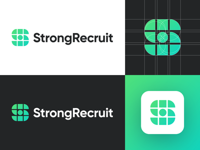 StrongRecruit - Logo Design Exploration (for sale) for sale unused buy media logo smart design brand identity human resources wordmark lettermark app icon recruit hr human s letter logo media tech digital symbol logotype identity logo design logo designer branding logo