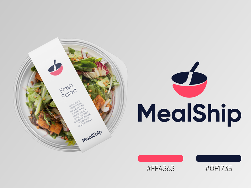 MealShip - Logo Design Concept (for sale) for sale unused buy food box meal prep delivery app plate negative space sponge corporate identity design brand identity food ship delivery meal logotype identity logo design logo designer branding logo
