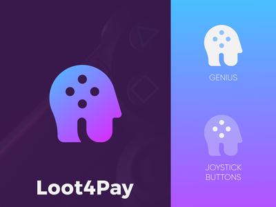 Loot4Pay - Logo Design Exploration (for sale) for sale unused buy l letter logo identity branding brand identity deal loot pay buyers sellers virtual items marketplace smart design media tech digital buttons joystick genius logotype identity logo design logo designer branding logo
