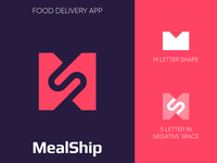MealShip - Logo Design Exploration hire me media tech digital branding design identity design smart design ship shipping meal food app icon negative space logo food delivery m s letter logo lettermark wordmark symbol logotype identity logo design logo designer branding logo