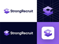 StrongRecruit - Logo Design Exploration identity branding hire logo designer logo grid app icon smart design identity design brand identity strong bold corporate rectangle hexagon cube shape jobs employee rectruit hr human resources for sale unused buy abstract s letter logo symbol logotype identity logo designer logo design branding logo