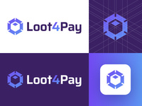 Loot4Pay - Approved Logo Design gradient app icon design virtual reality light rays shine logo grid identity design brand identity deals escrow services loot pay cube box hexagon corporate symbol smart design media tech digital logotype identity logo designer logo design branding logo
