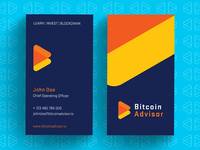 BitcoinAdvisor Business Card logo design logo designer business card logo branding identity money crypto cryptocurrency bitcoin trading finance