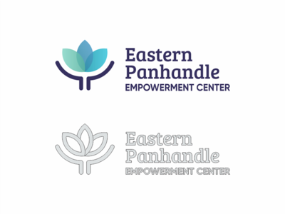 Empowerment Center Logo support help center empowerment transparency gradient layer hand leaf clean nice logo