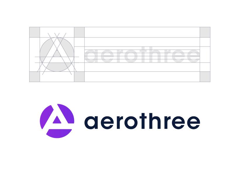 Aerothree Logo Design Concept logo design logo designer tech symbol mark logotype logo identity icon grid consulting circle