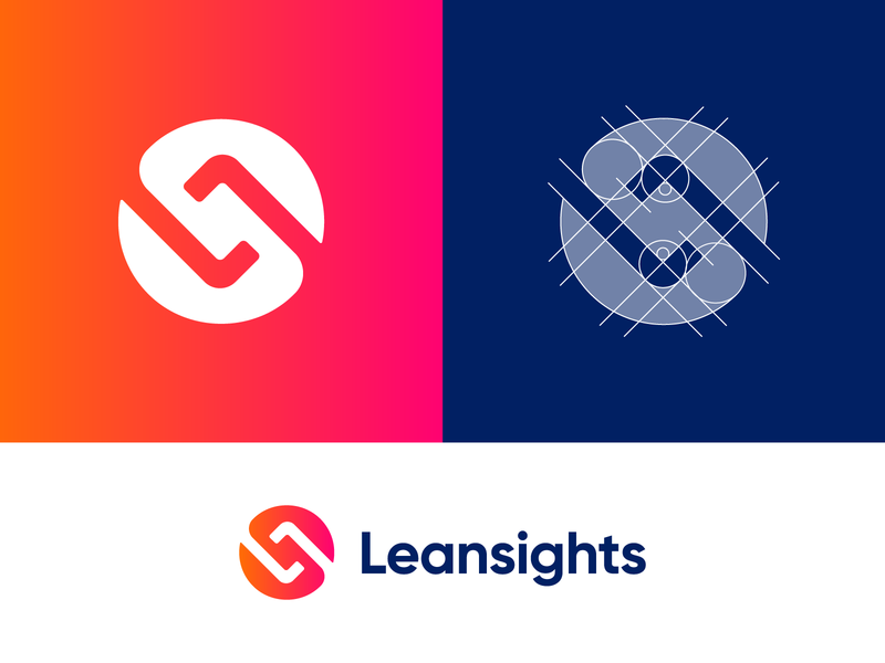 Leansights Logo Design - Second Option circle logo l letter logo monogram letters mark corporate gradient tech letter logotype identity nice design symbol logo designer logo design clean branding icon logo