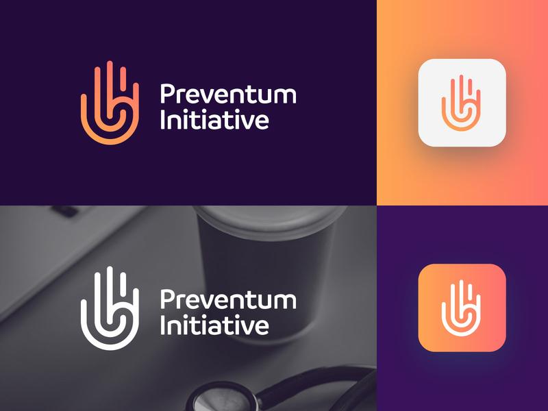 Preventum Initiative - Logo Design Concept hand concept challenges campaigns tech mark hand corporate gradient logotype identity nice design symbol logo designer logo design clean branding icon logo