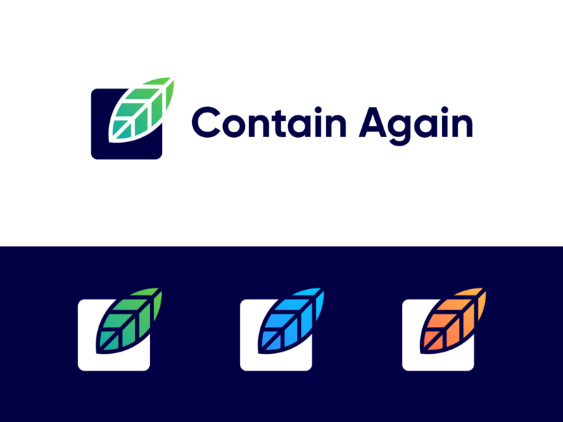 Contain Again - Approved Logo Concept gradient consumers producers recycle clean retail food products reusable renew food container box contain again leaf logo leaf natural eco logotype identity nice design symbol logo designer logo design clean branding icon logo