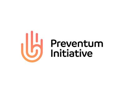 Preventum Initiative - Approved Logo Design layers vector logo icon branding clean logo design logo designer symbol design nice identity logotype gradient corporate hand mark tech challenges campaigns hand concept