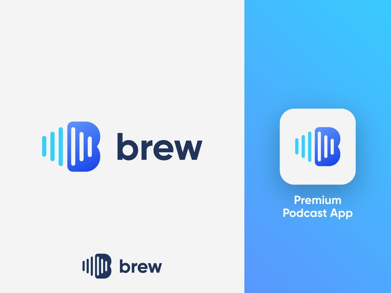 Brew - Logo Design Concept (for sale) for sale unused buy podcasting letters podcast logo podcast app premium corporate gradient letter tech logotype identity nice design symbol logo designer logo design clean branding icon logo