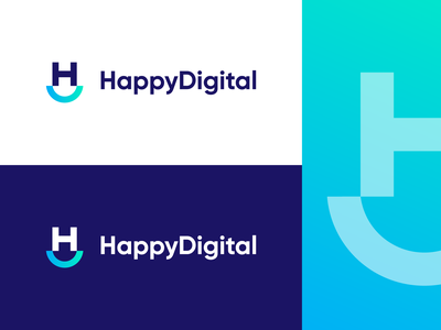 HappyDigital - Logo Design Concept (for sale) for sale unused buy vector logo icon branding clean logo design logo designer symbol design identity logotype letter gradient tech corporate letters mark monogram h letter hd d