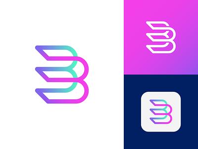 B Letter - Logo Design Concept symbol unused for sale letters corporate mark app b letter logo digital gradient letter tech logotype identity nice design logo designer logo design clean branding icon logo