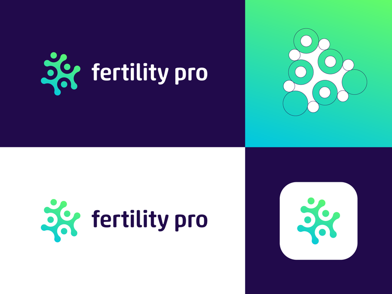 Fertility Pro - Logo Design Concept (for sale) media tech digital for sale unused buy health app medic patient grid unused for sale buy now medical app app corporate gradient tech logotype nice identity design symbol logo designer logo design branding clean icon logo