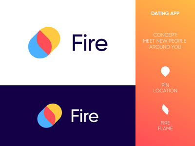 Fire App - Logo Design Concept (for sale) corporate for sale unused buy pin pins fire location love hearts connect heart togheter gender meet meeting fire platform man woman social socialize dating app logo branding icon logo design logo designer identity logotype symbol tech digital media app mark