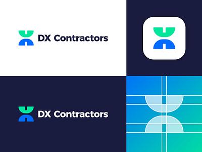 DX Contractors - Logo Design Concept logo branding icon logo design logo designer identity symbol logotype corporate letter app gradient tech media digital letters monogram clean design constructions contractor