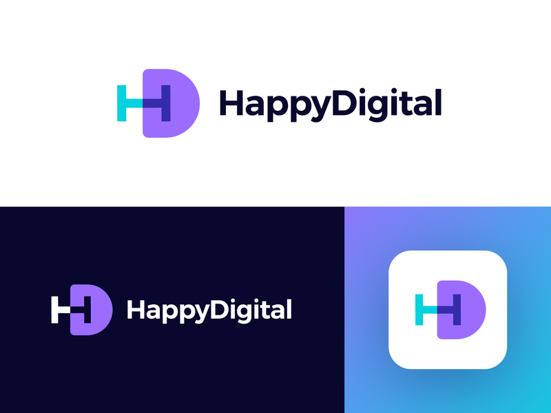 HappyDigital - Logo Design Concept digital media tech h letter hd d monogram mark letters corporate tech gradient letter logotype identity nice design symbol logo designer logo design clean branding icon logo
