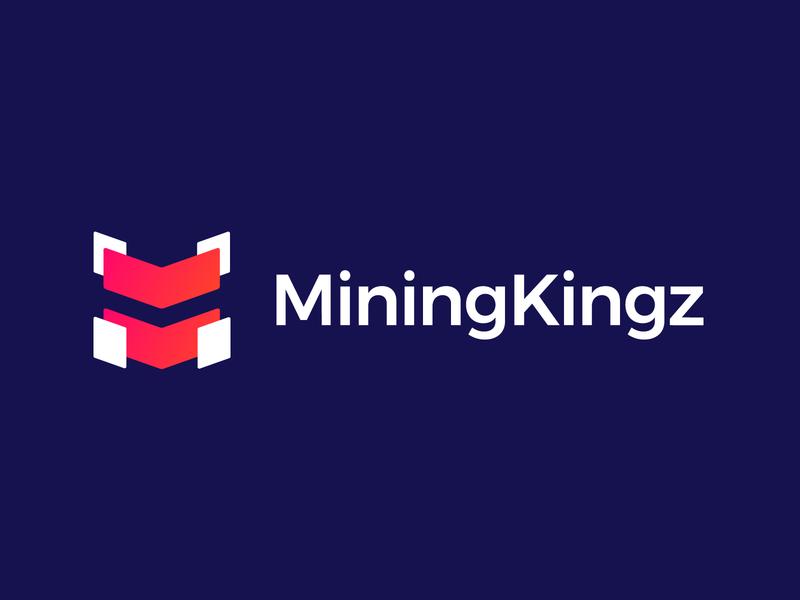 MiningKingz - Logo Design Concept icon monogram gradient app mark letters letter blockchain mining crypto digital media tech corporate design clean logotype symbol identity logo designer logo design branding logo