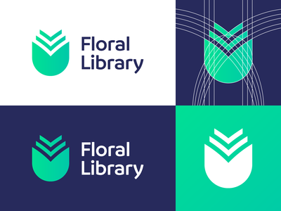 Floral Library - Logo Design Variations