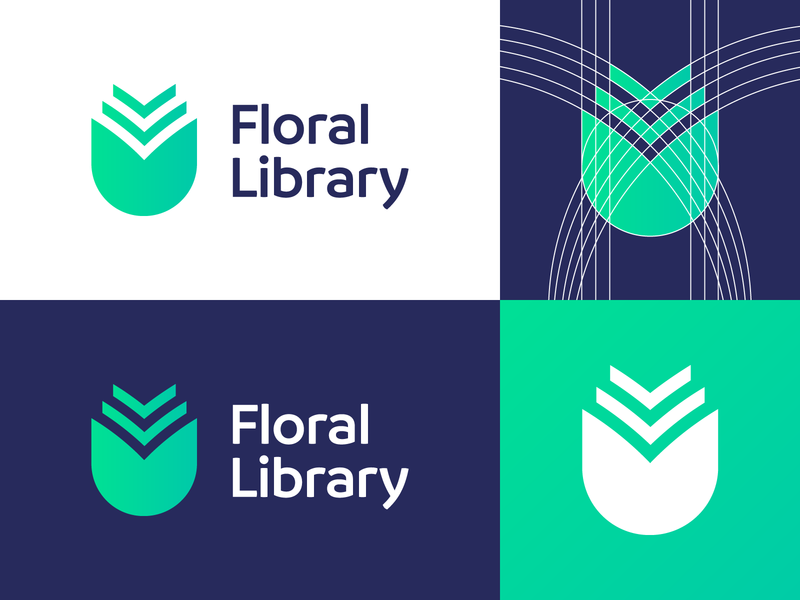 Floral Library - Logo Design Variations (for sale) for sale unused buy blue nice monogram u letter mark gradient elegant style book paper journal flowers flower floral library design clean logotype symbol identity logo designer logo design icon branding logo