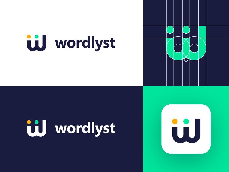 Wordlyst - Logo Design Concept flat w letter logo letters tech monogram design clean letters mark app media tech digital letter corporate logotype identity symbol logo designer logo design branding logo