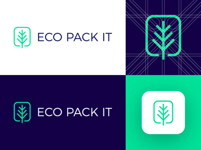 Eco Pack It - Logo Design Concept (for sale) for sale unused buy logo branding logo design logo designer icon identity symbol logotype media tech digital leaf natural eco pack branding bag resealable logo grid corporate app clean design nice green blue ecological
