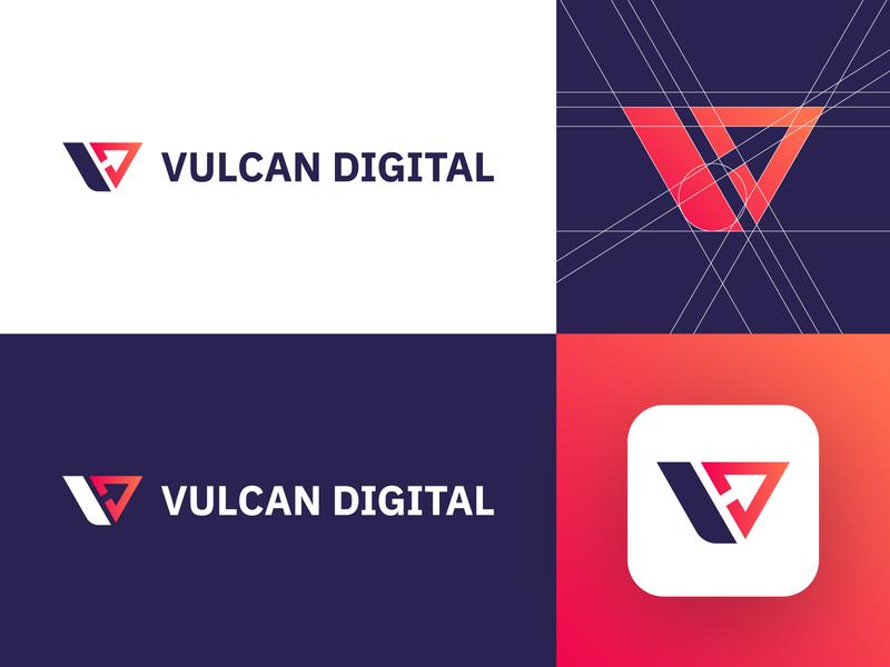 Vulcan Digital - Logo Design Concept monogram icon clean mark app letter red gradient v letter logo vulcan marketing agency digital media tech gradient corporate logotype symbol identity logo designer logo design branding logo