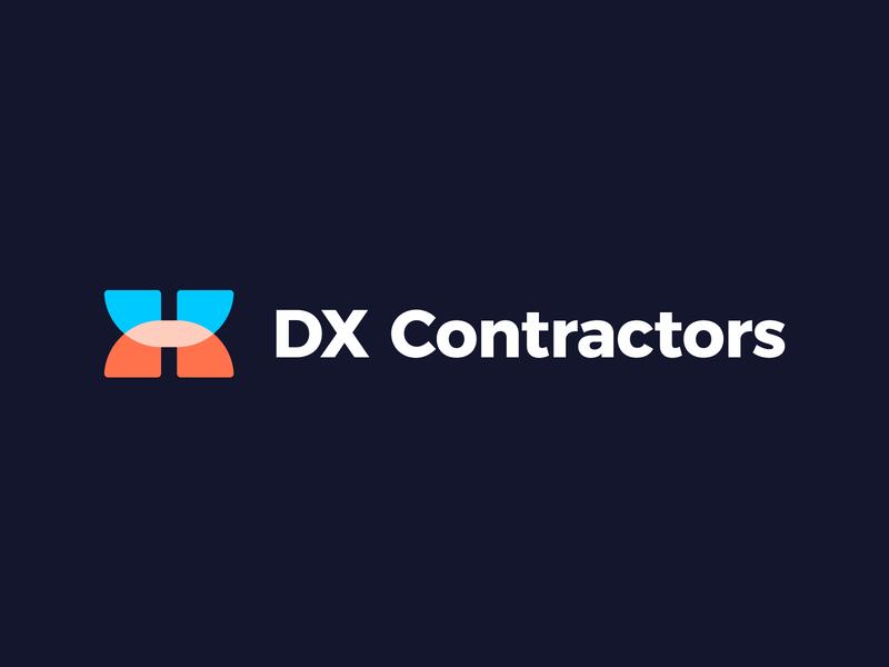 DX Contractors - Logo Design Exploration contractor constructions design clean monogram letters media digital tech gradient app letter corporate logotype symbol identity logo designer logo design icon branding logo