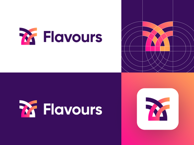 Flavours - Logo Design Exploration (for sale) for sale unused buy stack technology logo open free platform coding developers app logo grid logo f letter logo media tech digital corporate design clean logotype symbol identity logo designer logo design branding logo