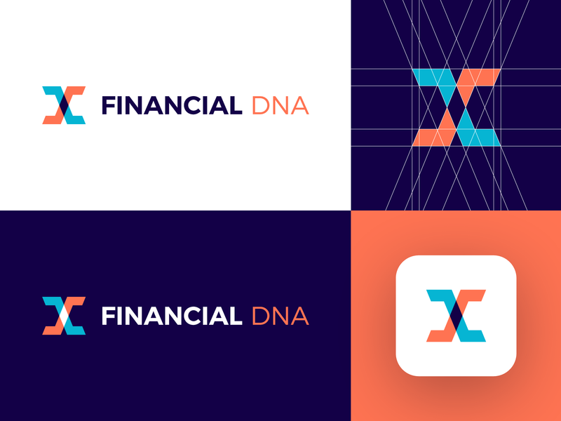 Financial DNA - Logo Design Concept (for sale) for sale unused buy venture logo identity identity branding identity design branding design logo grid app corporate molecule finance app dna finance financial digital media tech logotype identity logo designer logo design branding logo