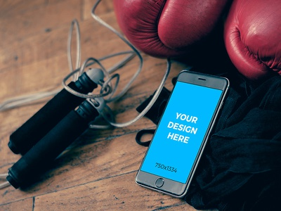 Black iPhone 6 on the floor in the gym freebie iphone placeit template tool online free smartmockups mockup