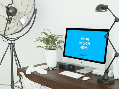 Free mockup - iMac on the table in the office office imac psd placeit freebie smartmockups template mockup