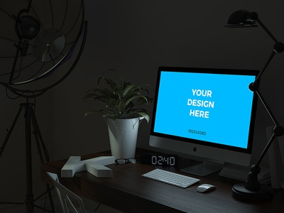 Free mockup - iMac on the table in the office at night dark night office imac psd placeit freebie smartmockups template mockup