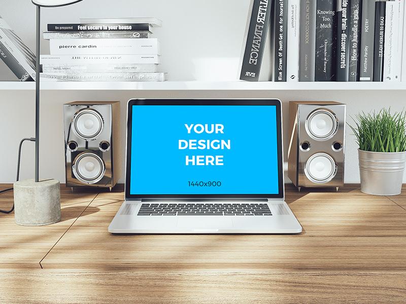 Free mockup - MacBook pro Retina on wooden table table office retina macbook pro psd placeit freebie smartmockups template mockup