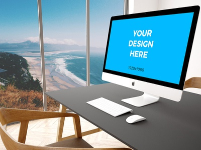 """Free mockup - 27"""" iMac on black table in modern office table view office imac psd placeit freebie smartmockups template mockup"""