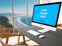 "Free mockup - 27"" iMac on black table in modern office"