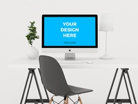 Free mockup - iMac on wooden table in minimalistic office